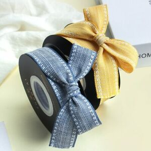 2Yards Cotton Linen Ribbons for Bouquet Gifts Hairbow Materials Ribbons Wrapping