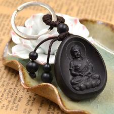 Sakyamuni Buddha Wood Carving Key Chain Black Lucky Amulets Keyring Gift 1pc