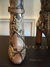 New In Original Box - Gucci Python Knee High Boots Size 38, MSRP $3,500