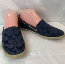Coach Women's Mellow Canvas Signature Slip On Shoes Size 6M Blue/Beige