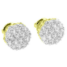 Iced Out Cluster Set Earrings Solitaire Round Cut Simulated Diamonds Gold Finish