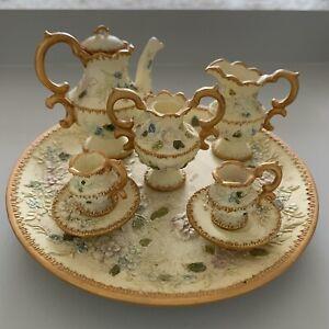 Miniature Tea-set Gold & Cream