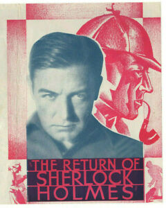 THE RETURN OF SHERLOCK HOLMES Vintage 1929 CLIVE BROOK Talkie Film MOVIE HERALD