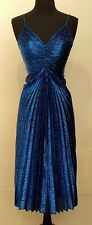 SALE Rare Vintage Samir Disco Metallic Blue Spaghetti Strap Designer Gown Size S