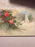 Unused Vintage Christmas Card White Tree Ornaments Pink Green Blue Purple