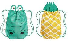 NEU H&M Turnbeutel Kordel Beutel Rucksack grün Krokodil gelb Ananas ~ 45 x 35 cm
