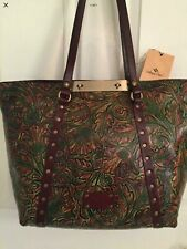 NWT Patricia Nash Tooled Green Leather BENVENUTO  2 Handled XL Tote 12X17X6 HTF