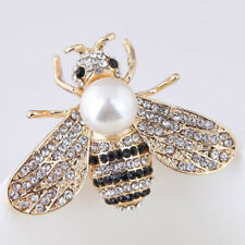 Vintage Enamel Bumble Bee Pearl Brooch Pin Costume Badge Lady Jewelry Gift