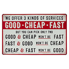 Good Cheap Fast Services Metal Sign
