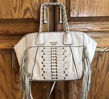 801c243465c White Satchel Crossbody GUESS Pebbled Leather Fringe Chain Straps