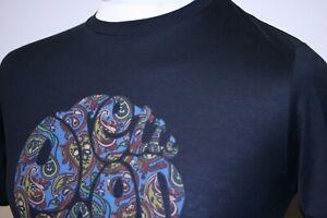 Pretty Green Big Paisley Logo Print Crew Neck T-Shirt - S - Black - Mod Ska Top