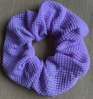 A Pale Purple Waffle Fabric Scrunchie Ponytail Band / Bobble