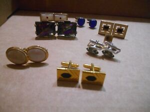 VINTAGE LOT OF 7 PAIR OF CUFFLINKS WITH STONES