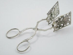 "ANTIQUE SOLID 800 SILVER FLORAL ROSE MOTIF PIE CAKE PASTRY TONGS 6.25""  / 44.7g"