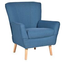 Accent Leisure Arm Chair Upholstered Single Sofa Wood Legs Living Room Furniture