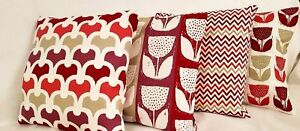 "New Set Of 4 x 14"" 16"" 18"" 20"" 22"" 24"" Cushion Covers Red Beige White Handmade"