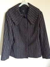 M&S Wool Mix 14  Jacket grey check look button front shawl type collar excellen