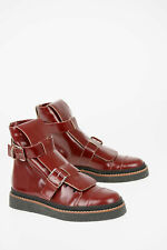 MARNI men Boots Sz 44 IT Burgundy Leather Shoes Ankle Boots Buckles Burgundy ...