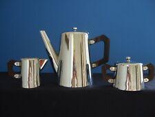 ART DECO / BAUHAUS Teekanne + Milchkännchen u. Zuckerdose, Holzgriff