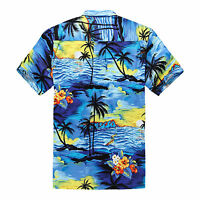 Plus Size 4X 5X 6X Men Hawaiian Shirt Luau Aloha Cruise Sunset Blue Scenic