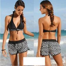 Women Stripe Halter Bikini Set Padded Swimsuit Beachwear Swimwear Plus Size JJ