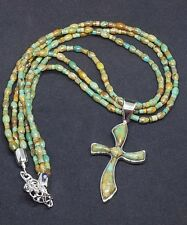 Jay King DTR Sterling Silver Green Turquoise 3 Strand Neclace Cross Pendant