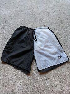 Vintage Nike Nylon Black White Colorblock Cotton Lined Trunks Shorts Mens Medium