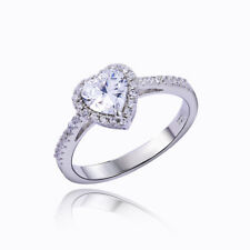 1.3ct Heart Shape White Cz 925 Sterling Silver Wedding Engagement Ring Size 10