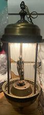 Vtg LARGE Oil Rain Hanging Swag Lamp W/ Greek Goddess by Johnson Industries Read