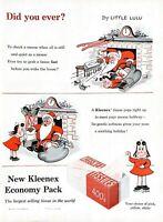 1955 Kleenex Tissues Vintage Print Ad Christmas Santa Little Lulu Comic