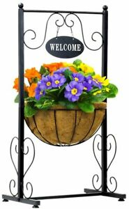 Welcome Planter Basket Stand with Coco Liner, Stylish Garden & Deck Flower Plant