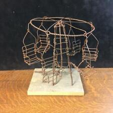 Antique Vintage Handmade Wire Merry-Go-Round Ferris Wheel Tramp Folk Art VIDEO