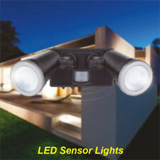 LED 2 x 10W Twin Security Floodlight with Motion Sensor 20W Weatherproof Outdoor