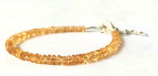 "Natural CITRINE Stone 3-4mm Rondelle Faceted Jewelry Beads Jewelry 7"" Bracelet."