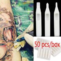 50x RT DT FT Sterile Disposable Tattoo Machine Gun Nozzle Needle Tube Moda ES