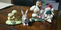 4 Miniature Figurines Rabbits And Baby Birds