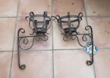 Gothic Pair of metal Wall Pillar Candle Sconces