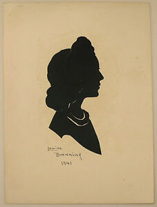 ORIGINAL ART SIGNED LOUISE BROWNING 1941 SILHOUETTE OF A WOMAN UNFRAMED