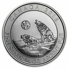 2016 Canada $2 3/4 oz Howling Wolves Wolf  Fine Silver Bullion Coin 9999