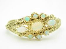 14k Yellow Gold & Genuine Opal Vintage Mesh Design Estate Soft Bangle Bracelet