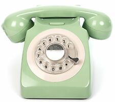 GPO 746 Mint Green Retro Vintage Style Desk Phone with Working Rotary Dial