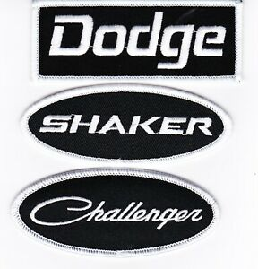 DODGE SHAKER CHALLENGER BLACK WHITE EMBROIDERED SEW/IRON ON PATCH  MOPAR HEMI