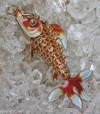 Emailanhänger Fisch Silber vergoldet silver fish Pendant beweglich antik