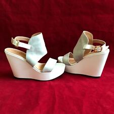 ROBERT CLERGERIE BAMBIN WHITE LEATHER GRAY SUEDE WEDGE PLATFORM SANDALS 37 $695