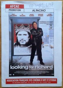 Looking for Richard promotional booklet (in French) AFCAE Al Pacino 1997