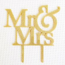 Mr and Mrs Gold Glitter Acrylic Wedding Cake Topper Bride and Groom