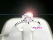 1.0Ct Ring 18K White Gold GP Solitaire Simulated Diamond Size P 1/2