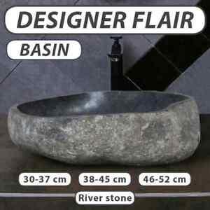 vidaXL Basin River Stone Oval Sink Washing Bowl Toilet Bathroom Multi Sizes
