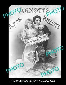 OLD LARGE HISTORIC PHOTO OF ARNOTTS BISCUITS ADVERTISING, ca 1900 1