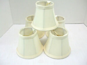 """Chandelier Lamp Wall Sconce clip-on 4"""" Mini Shades Tan Color Fabric Set of 5"""